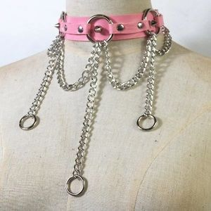 Jewelry - Pink Leather Harness Collar